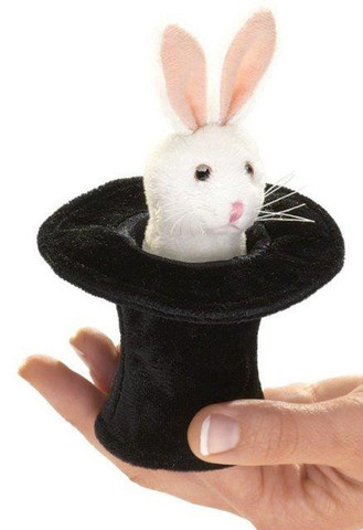 Folkmanis Mini Finger Puppet - Rabbit in the Hat