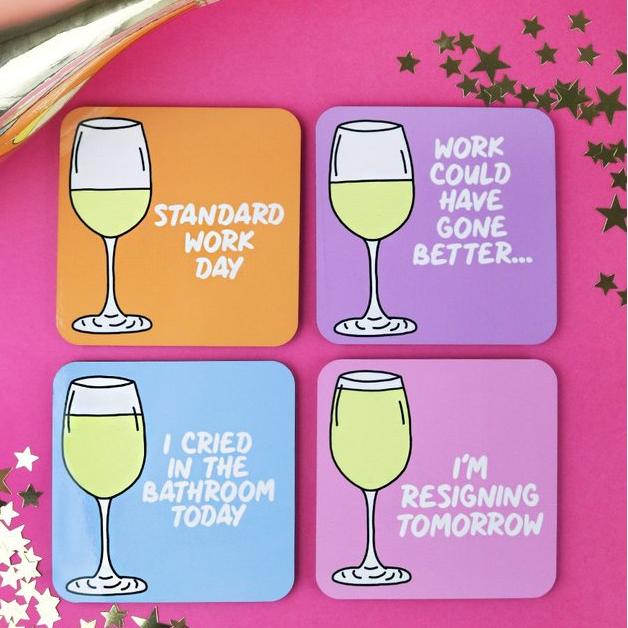 Wine Till I Resign Coaster Set