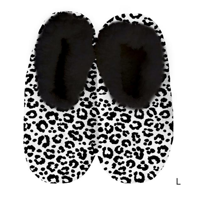 Sploshies: Women's Velvet Slippers - Leopard Black (Large)
