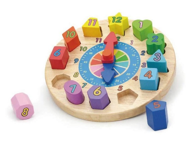 VIGA Wooden Toys - Geometric Puzzle Clock