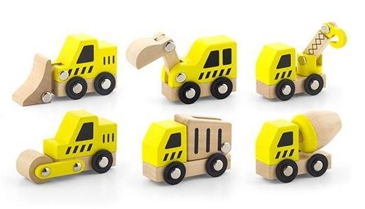 VIGA Wooden Toys - Construction Vehicles Set image