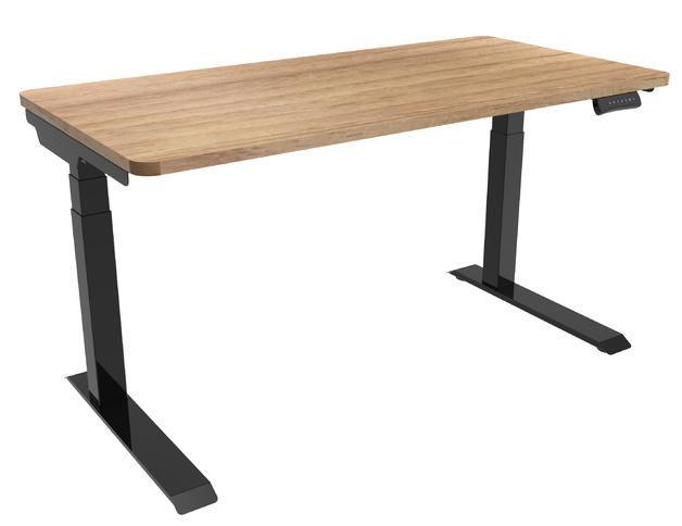 Gorilla Office: 3-Stage Motorised Height Adjustable Desk - Black/Oak (1400 x 700mm)