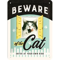 Nostalgic Art: Tin Sign - Beware of the Cats