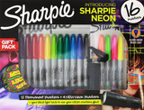 Sharpie 16PK Markers - Neon Colours + Black Light Torch