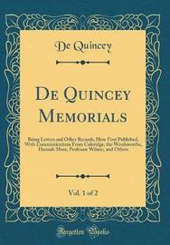 de Quincey Memorials, Vol. 1 of 2 by De Quincey image