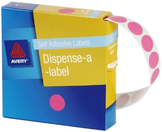 Avery Pink 14mm Diameter Circle Dispenser Labels Pkt1050