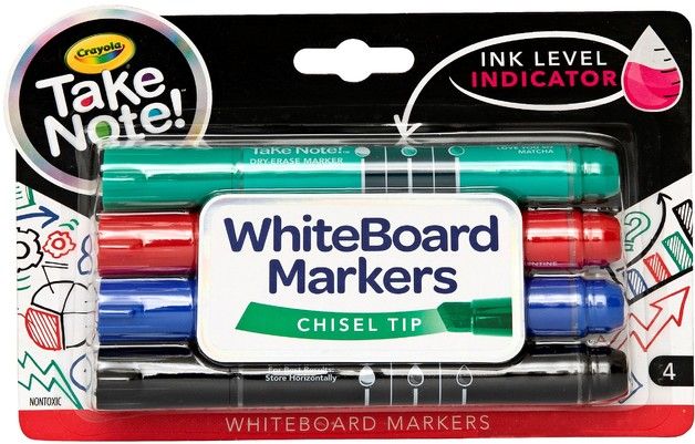 Crayola: Take Note - Chisel Tip Whiteboard Markers - Black,Blue,Red,Green (4 Pack)