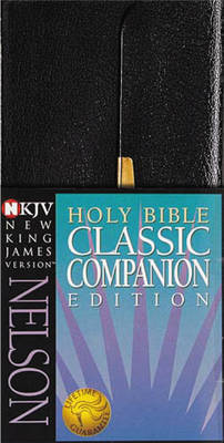 NKJV, Checkbook Bible, Compact, Bonded Leather, Black, Wallet Style, Red Letter Edition by Thomas Nelson
