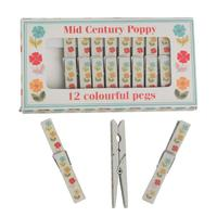 Clothes Pegs - Mid Century Poppy