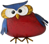 'Red Owl with Blue Wings and Crown' Metal Art Decoration - 26x16cm