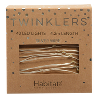 Twinklers: Indoor Warm White LED Lights - Silver String