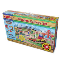 Wooden Railway Set 132 Pieces - Melissa & Doug
