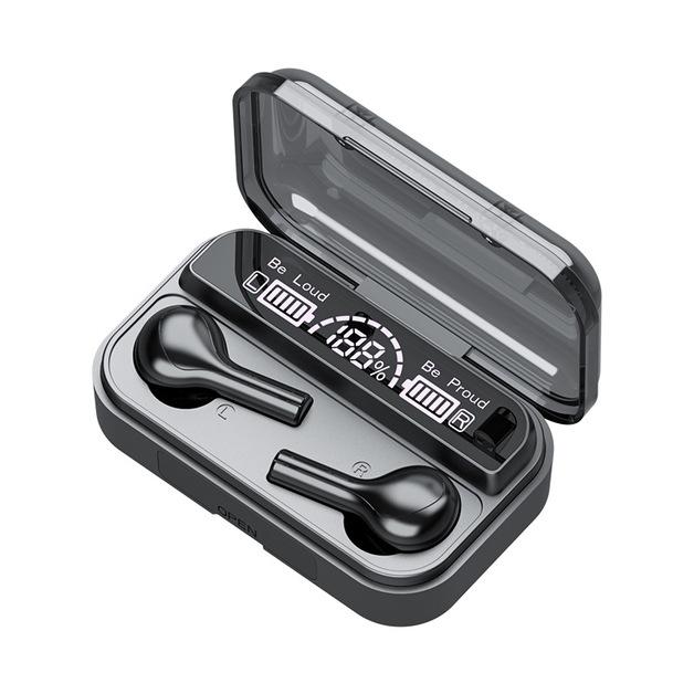 TWS Waterproof True Wireless Bluetooth Headphones- Black