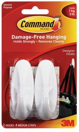 Command Designer Medium Hooks - White (2 Pack)