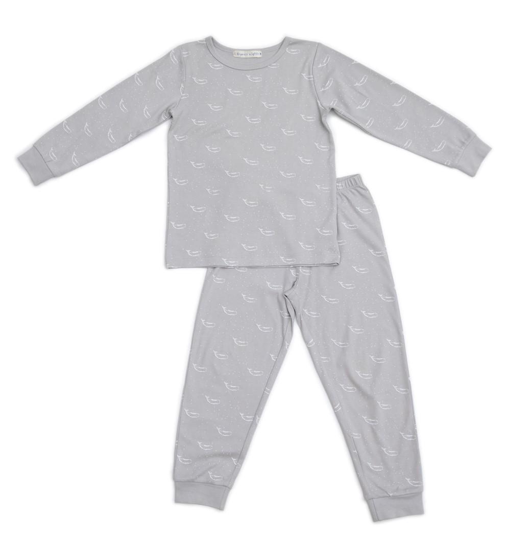 Organic Nights: Soft Grey Childrens Long Sleeve/Long Pants Pyjama Set - 6-7 years image