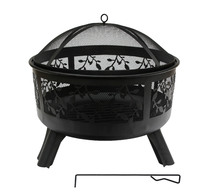 Round Steel Fire Pit with Leaf Design (61x58cm) image