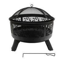 Round Steel Fire Pit with Leaf Design (61x58cm)