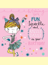 Rachel Ellen: Fun Sparkle Razzle Dazzle Birthday - Greeting Card