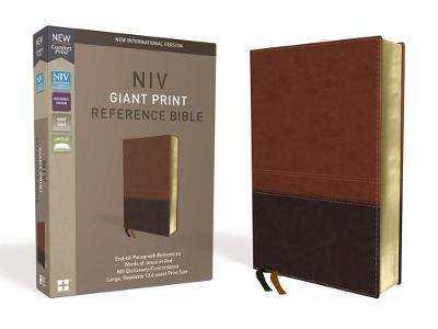 NIV, Reference Bible, Giant Print, Leathersoft, Brown, Red Letter Edition, Comfort Print by Zondervan image