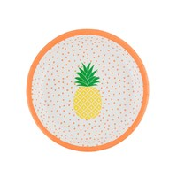 Tropical Summer Pineapple Paper Plates (Set of 8)