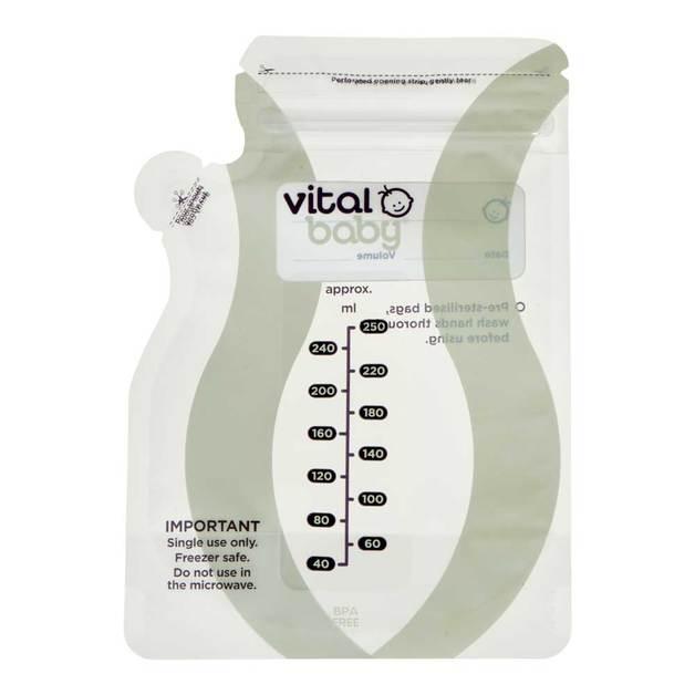 Vital Baby: Easy Pour Breast Milk Storage Bags (30 Pack)