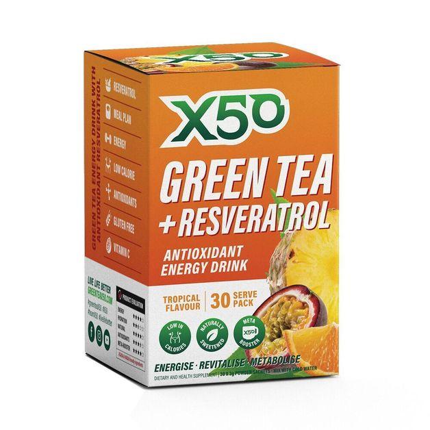 Green Tea X50 + Resveratrol - Tropical (30 Sachets)
