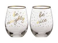 Maxwell & Williams Celebrations Stemless Glasses - Naughty / Nice