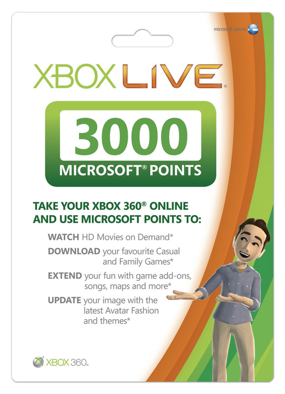 Xbox Live 3000 Points Card for Xbox 360