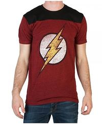 DC Comics: Flash Black & Red Mens Yoke T-Shirt (Large)