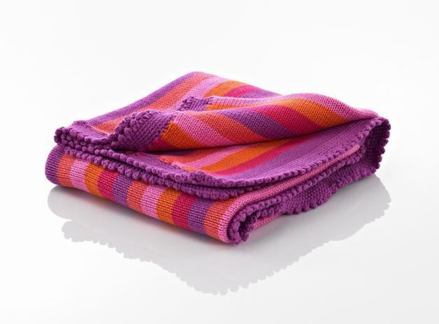 Pebble: Crochet Blanket - Pink Stripey