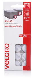 VELCRO Brand Hook & Loop Stick On Mini Dots Set of 15 (30 Dots) White image