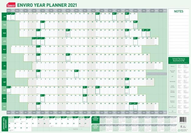 Sasco: 2021 Enviro Laminated Year Planner