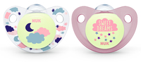 NUK: Glow in the Dark Soother - 6-18 Months (2 Pack) - Pink image