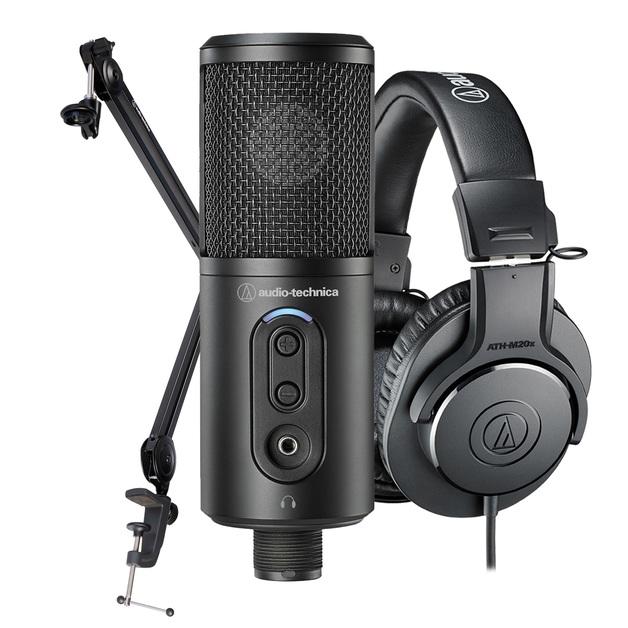 Audio Technica Creator Pack - Includes ATR2500x-USB + ATH-M20x + Boom Arm