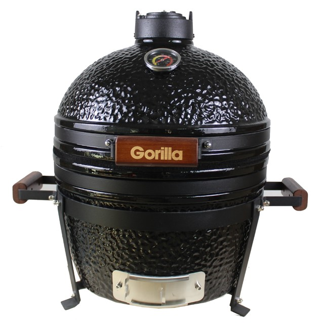 "Gorilla Kamado Ceramic Portable Grill BBQ (Black) | 16"""