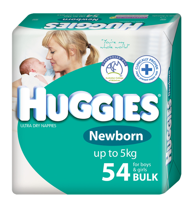 buy huggies nappies bulk newborn up to 5kg 54 at mighty ape australia