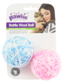 """Pawise: 2.5""""Rattle Wool Ball - with Tail/2 Pack"""