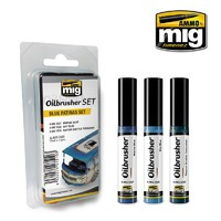 Ammo of Mig Jimenez: Oil Brusher Set: Blue Patinas Set