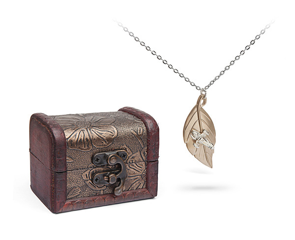Firefly: Gold Plated Leaf on the Wind Pendant