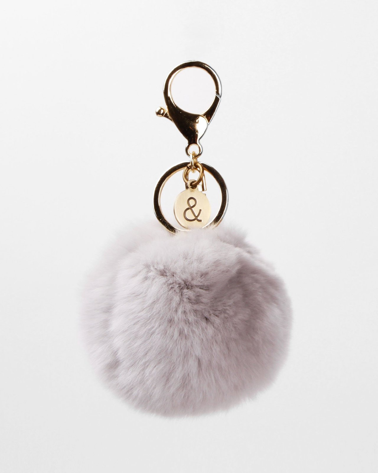 Belle and Bloom: Faux Fur Pom Pom Keychain - Grey image