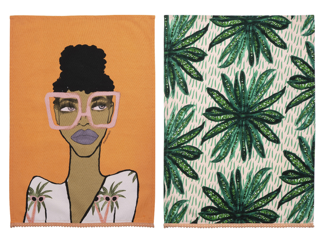 Bouffants & Broken Hearts: Jungle Queen Tea Towel Set/2 (70x1x50cm)