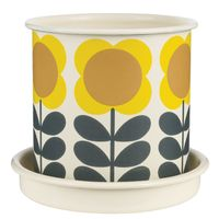 Orla Kiely Medium Enamel Plant Pot with Saucer - Big Spot Flower Yellow