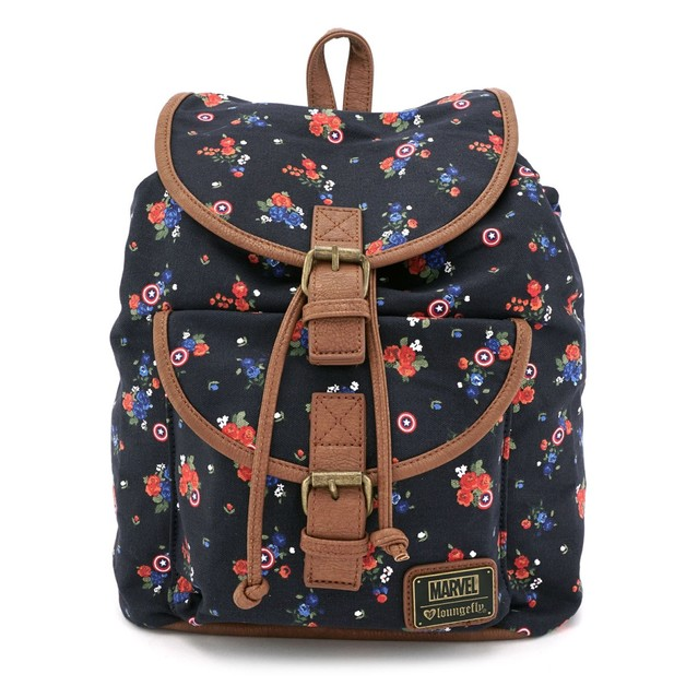 Loungefly Marvel Captain America Floral Print Backpack
