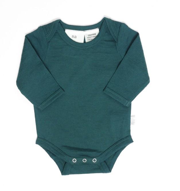 Babu: Merino Long Sleeve Body Suit - Tui Green (1 Year)