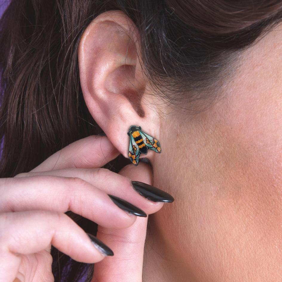 Painted Bumble Bee Stud Earrings image