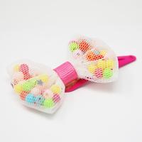 Pink Poppy: Beaded Bow - Elastic Hair-Tie