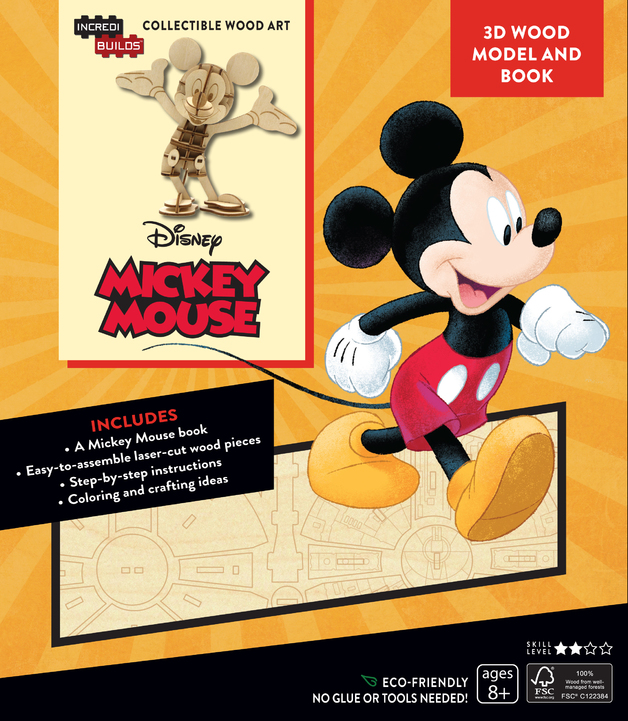 Incredibuilds: Walt Disney: Mickey Mouse 3D Wood Model and Book by Eden Greenberg