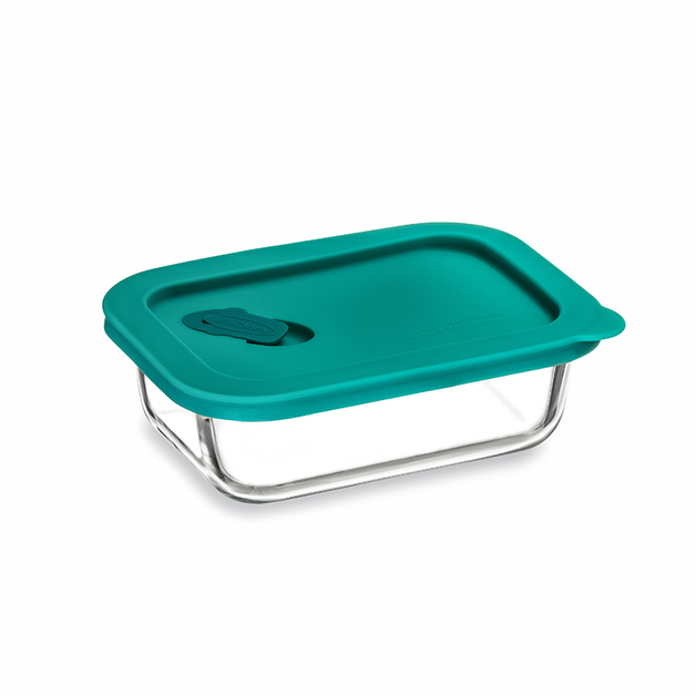 ClickClack: Cook+ Rectangular Glass Container - Teal (0.4L/0.4qt)
