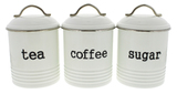 Tea/Sugar/Coffee Canisters 3 Set - White