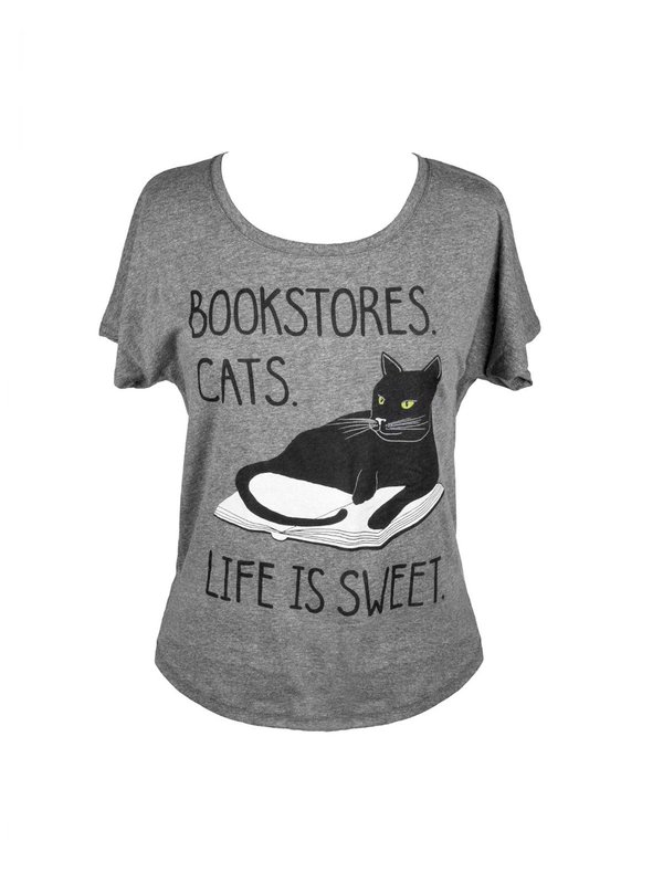 Out of Print: Book Store Cats Women's Dolman Tee - M